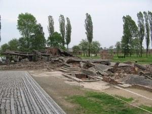 gas chamber ruins in Birkenau
