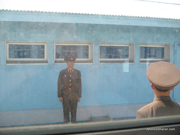 North Korean soldiers in Panmunjom outside the Window kore border