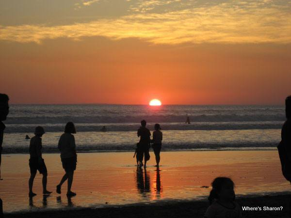 Sunset in Bali over legian beach