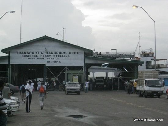 Ferry terminal at Rosignol at Guyana border