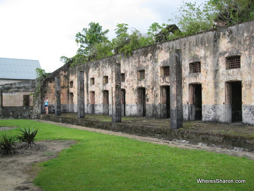 A row of prison cells french guiana