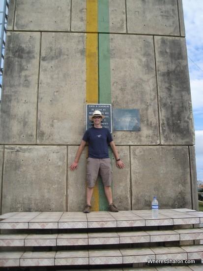 Standing in both hemispheres in macapa brazil