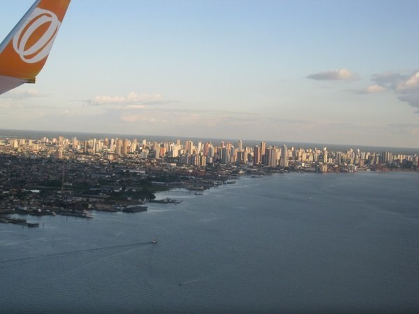 From our plane looking at Belem below and the amazon river