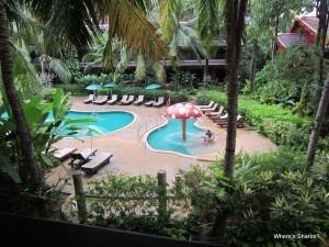 looking at pools from balcony at Kata Palm Resort