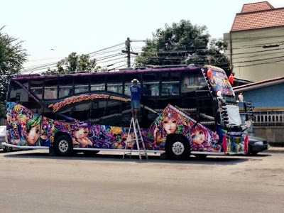 colourful bus on street in Ayutthaya
