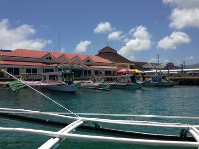 Caticlan pier with boats waiting to go to Boracay philippines