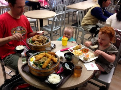 Big lunch at a food court in Danshui, Taipei
