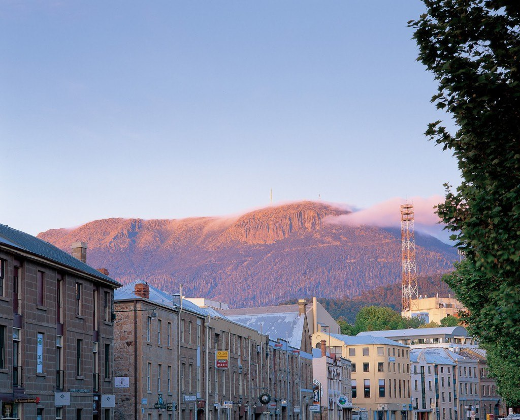 Salamanca Place with Mt Wellington in the background – Photographed by Garry Moore, Tourism Tasmania. All Rights Reserved