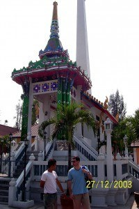 temple in bangkok with man who was part of the gem scam