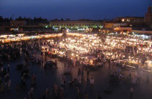 Dark main square in marrakesh with lit up food stalls