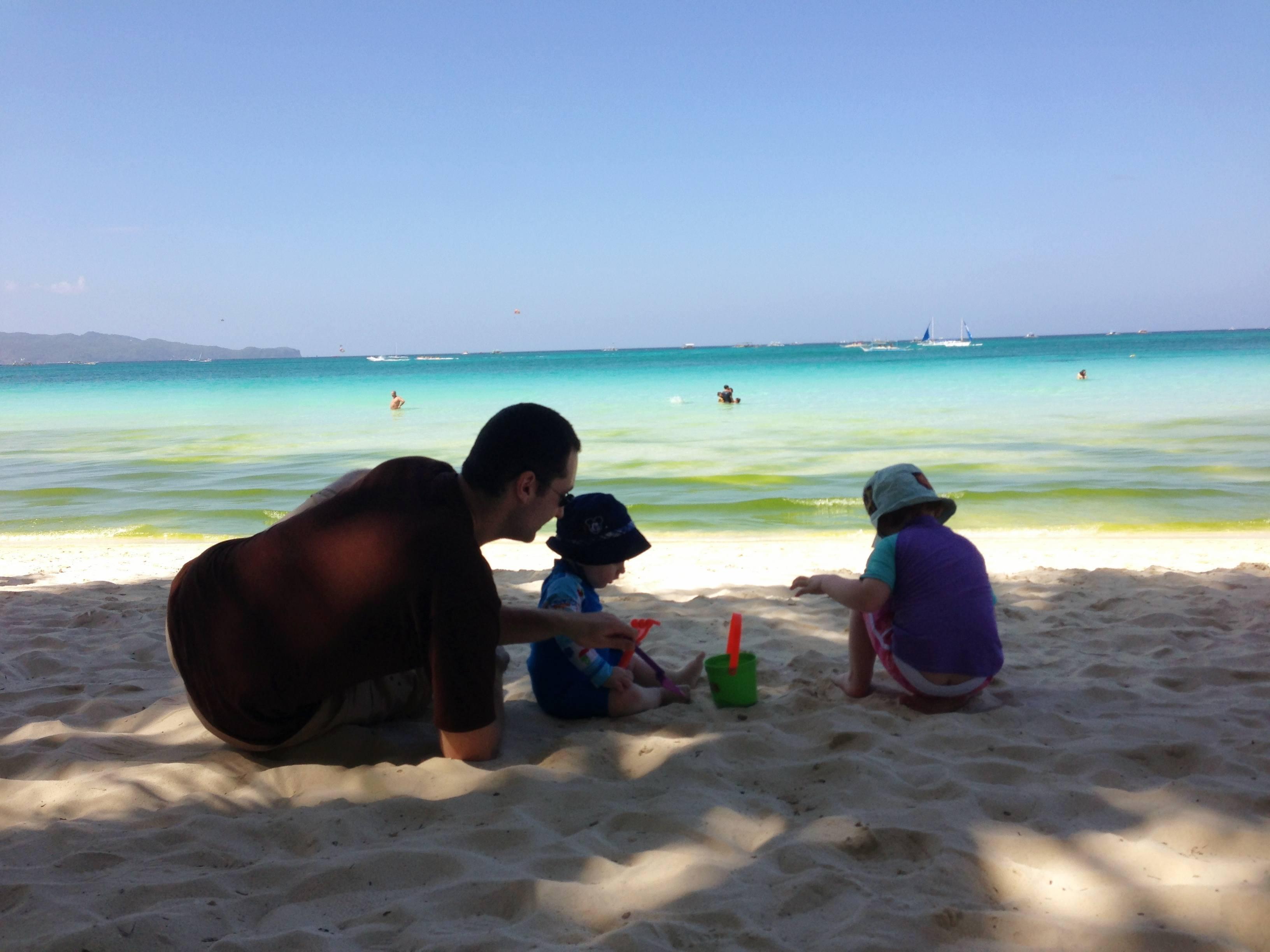 Sitting on the beach at Boracay