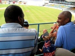 Blow up kangaroo watching West Indies vs Australia cricket test match in barbados