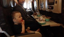 Baby eating on virgin australia flight