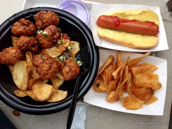 chicken nuggets, hot dog and chips at disneyworld