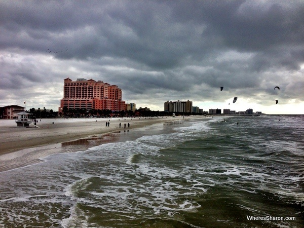View of kite surfers and people at Clearwater beach