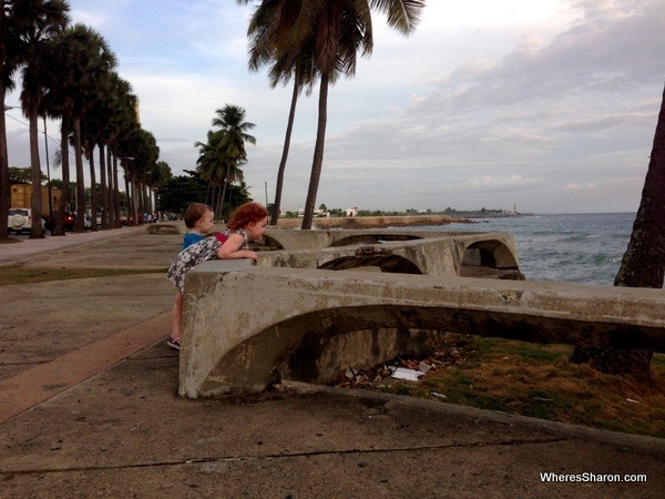 Kids on the malecon right before sunset