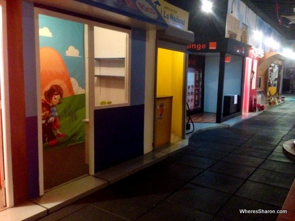 Row of child size houses in Museo Infantil Trampolin