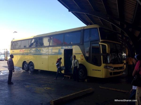 yellow bus at Caribe bus terminal santo domingo
