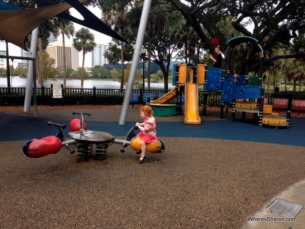 kids playing at playground at Eola Lake