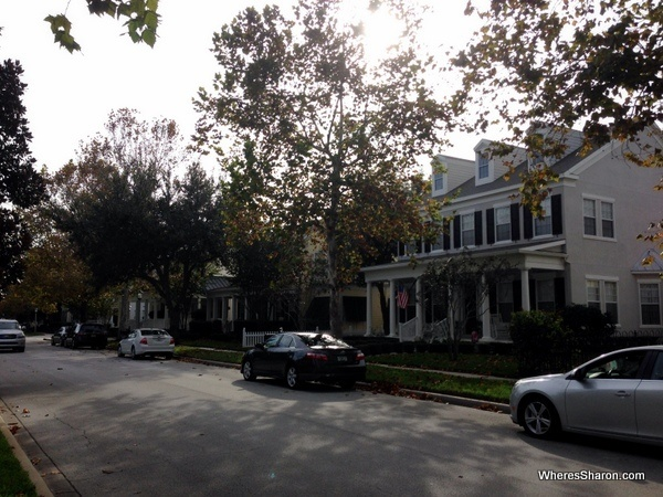 Big pretty houses with porches lining street in Celebration Orlando