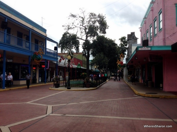 main street of Old Town USA lined with shops