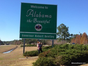 State sign welcoming us to Alabama
