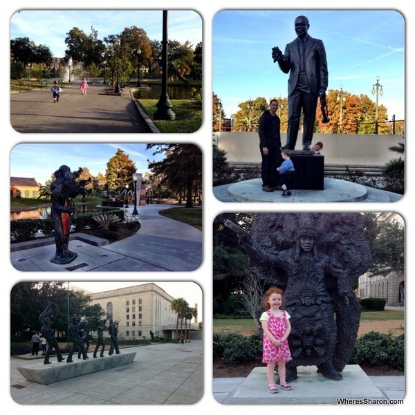 lake, statues and Louis armstrong statue at Louis Armstrong Park