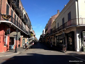 beautiful houses lining narrow street in French Quarter