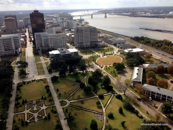 Views of park and the Mississippi river from the Louisiana State Capitol building