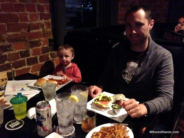 eating burgers and drinks at urban stack chattanooga