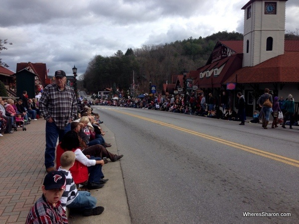 People waiting along main street in Helen GA for the christmas parade