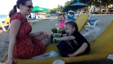 Sitting on lounge chairs on cabarete beach dominican republic