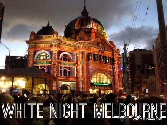flinders st station lit up at white night melbourne