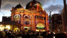 Flinders St station at white night melbourne
