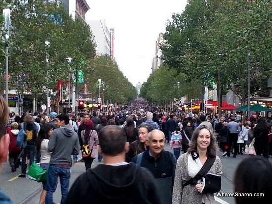 swanston st crowds at white night melbourne