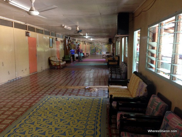 Inside the longhouse in Brunei