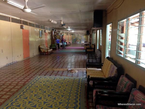 Inside the longhouse in Brunei