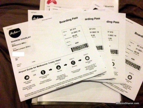 Air Asia boarding passes