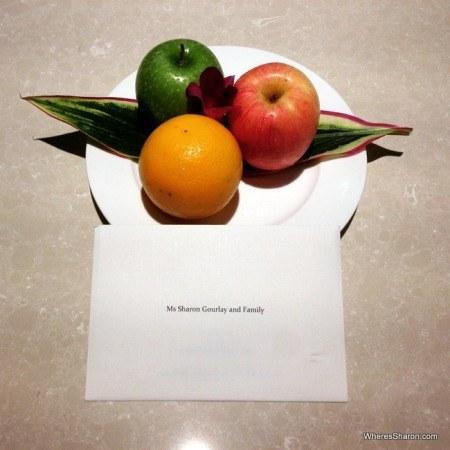 welcome fruit and letter at Shangri-La's Rasa Sayang Resort and Spa