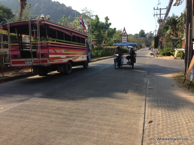 songthaew and motor bike taxis in ao nang