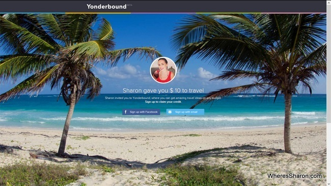sign up page on Yonderbound