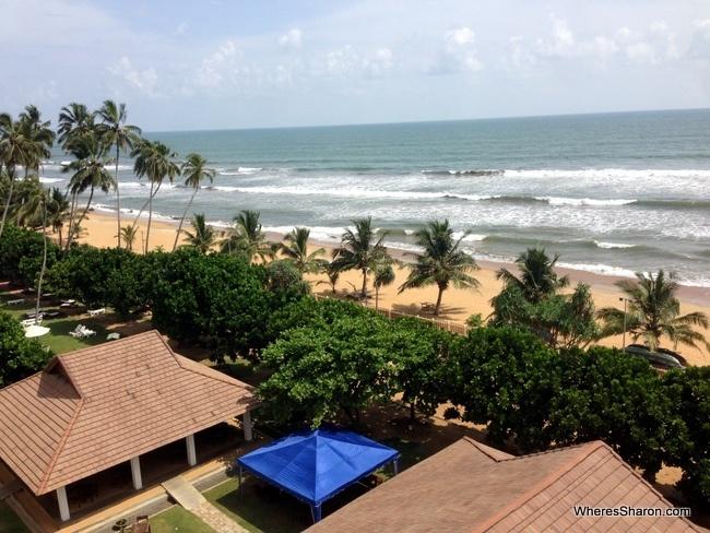 balcony beach view at the sands hotel sri lanka