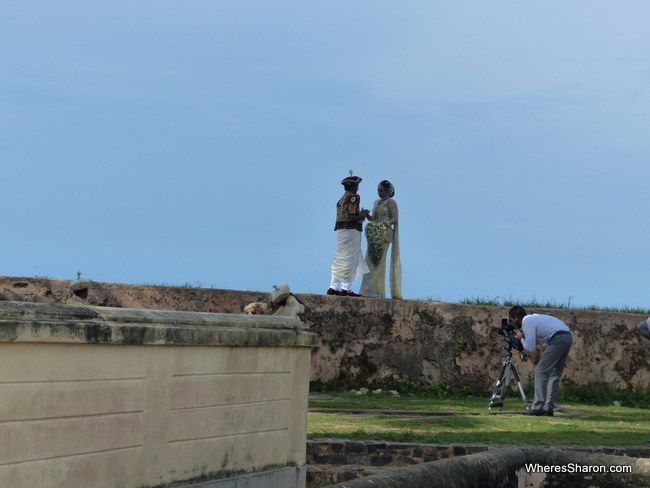One of many bridal parties posing for photos in the Fort