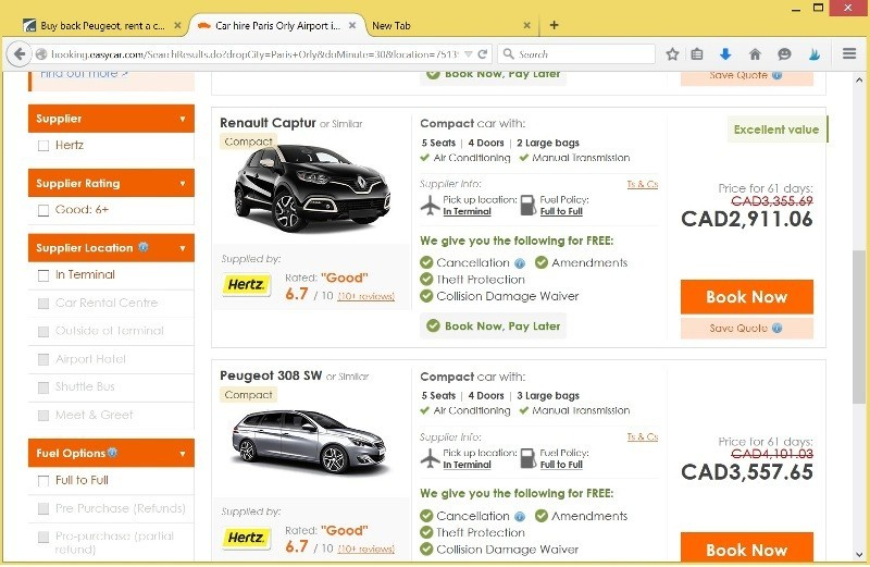 easyCar best results for similar car for two months