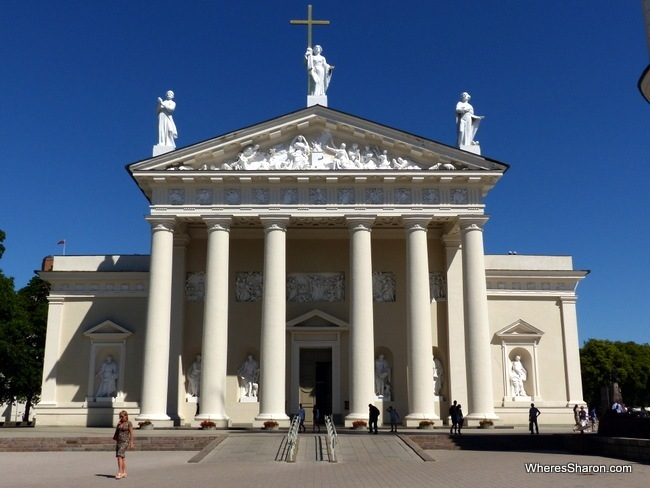 The neo-classical front of the Vilnius Cathedral.