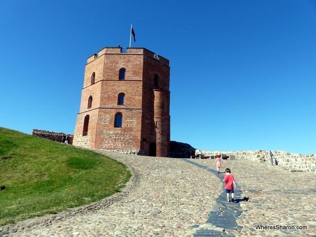Walkimg up to Gediminas Tower.