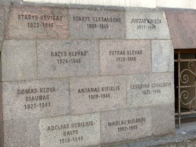 The names of the victims of Soviet oppression, carved into the wall.