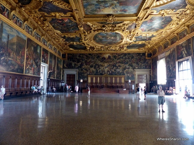 The Hall of the Grand Council in the Doge's Palace.