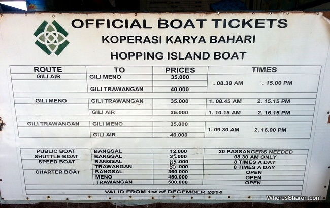 Gili Islands island hopping boat schedule and prices Dec 2015