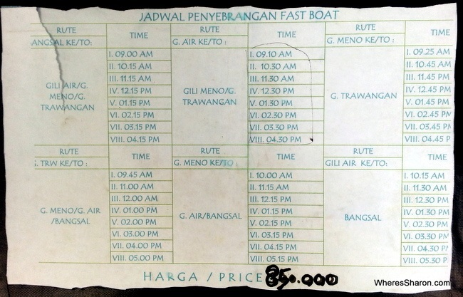 Gili Islands Fast boat schedule between the Gili Islands and Lomobok